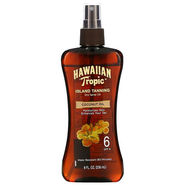 Island Tanning, сухое масло-спрей для загара с кокосовым маслом, SPF6, 236мл (8жидк.унций)