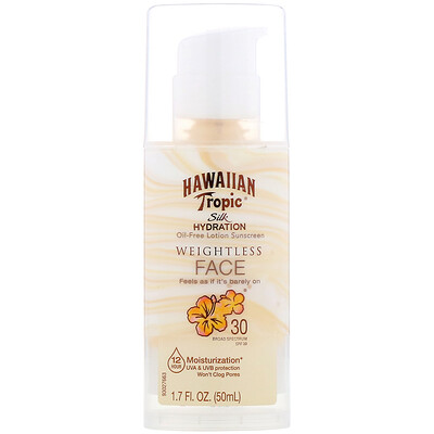 Hawaiian Tropic Silk Hydration, Weightless Face, невесомый солнцезащитный лосьон для лица без масел, SPF 30, 50мл