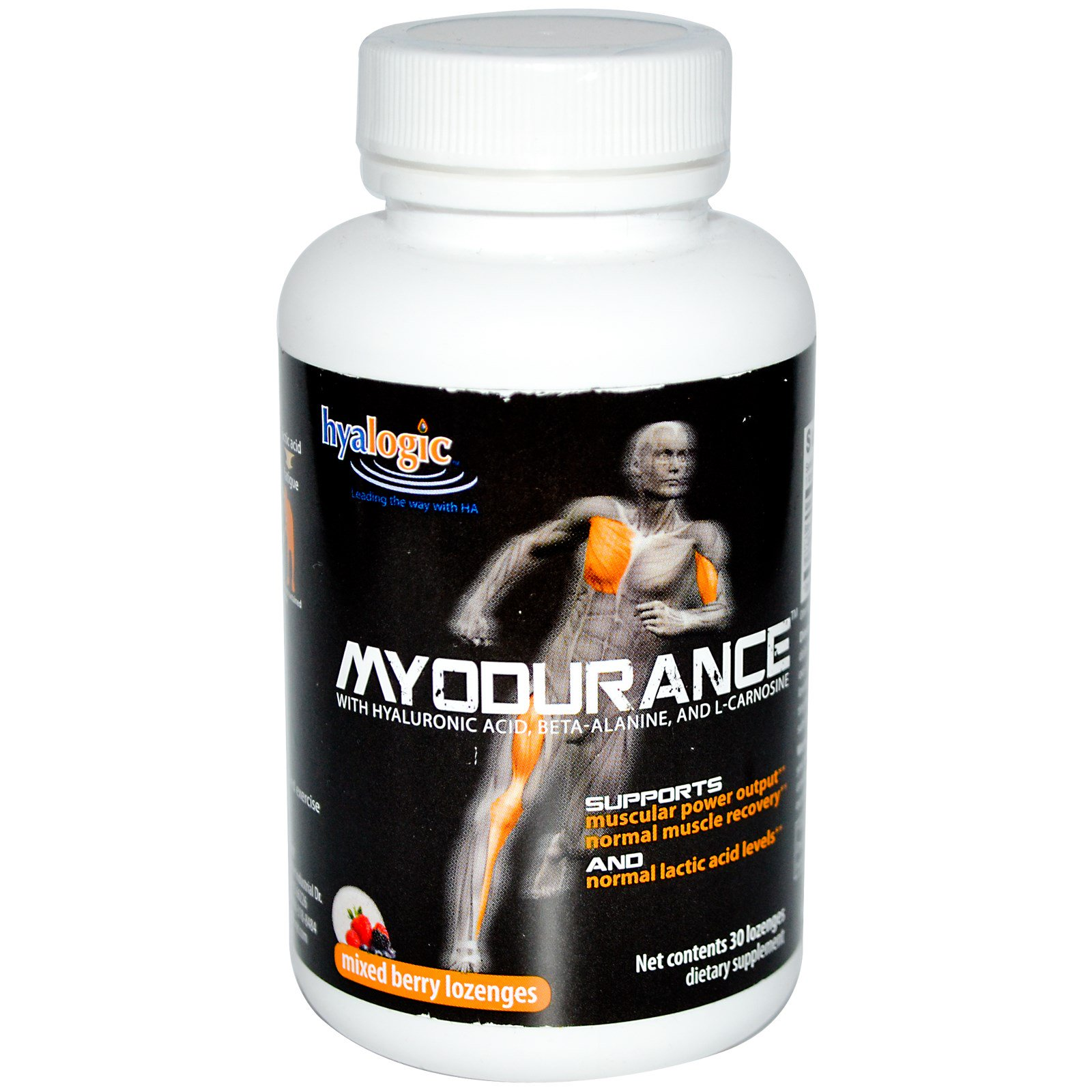 Hyalogic LLC, Myodurance with Hyaluronic Acid, Beta-Alanine, and  L-Carnosine, Mixed Berry, 30 Lozenges (Discontinued Item)