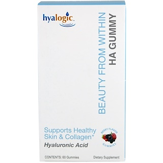 Hyalogic LLC, Beauty From Within HA Gummy, Berry Flavor, 60 Gummies