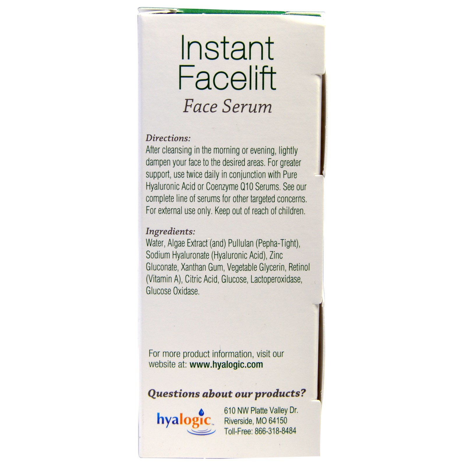 Hyalogic LLC, Instant Facelift Face Serum, .47 fl oz (pack of 4) Saysi NAT0000032 Natural Balancing Cream