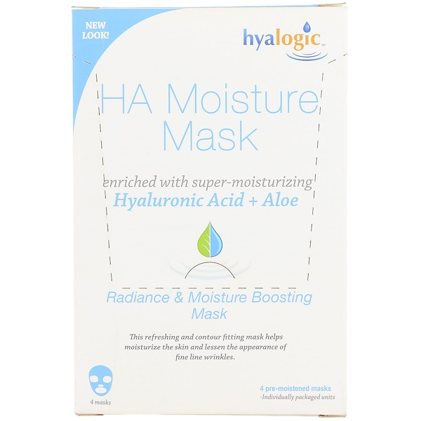 Hyalogic LLC, Увлажняющая маска с гиалуроновой кислотой, 4 шт. (Discontinued Item)