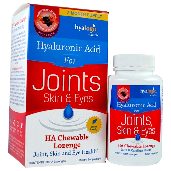 Hyalogic, Hyaluronic Acid For Joints, Skin & Eyes, Mixed Berry Flavor, 60 HA Chewable Lozenges