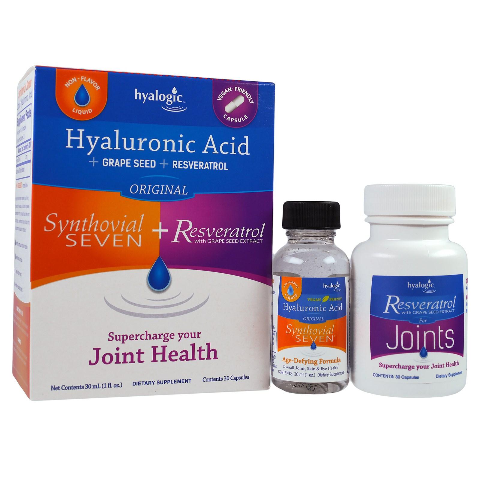 Hyalogic LLC, Гиалуроновая кислота, Synthovial Seven + ресвератрол, 1 набор