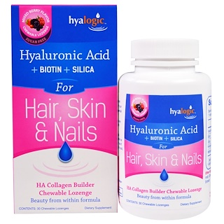 Hyalogic LLC, Hyaluronic Acid for Hair, Skin & Nails, Mixed Berry Flavor, 30 Chewable Lozenges