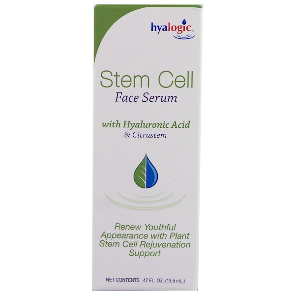Hyalogic LLC, Stem Cell Face Serum with Hyaluronic Acid & Citrustem, .47 fl oz (13.5 ml)