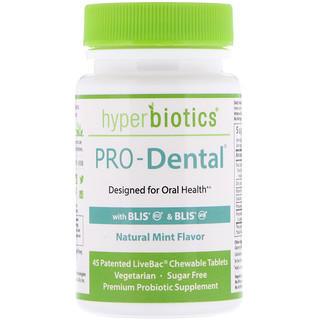 Hyperbiotics, PRO-Dental, natürlicher Minzgeschmack, 45 Kautabletten