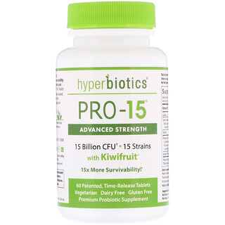 Hyperbiotics, PRO-15, Advanced Strength with Kiwifruit, 60 Patented, Time-Release Tablets