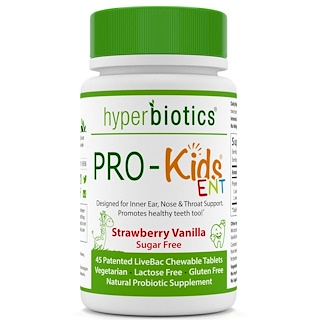 Hyperbiotics, PRO-Kids ENT, Strawberry Vanilla, Sugar Free, 45 Chewable Tablets