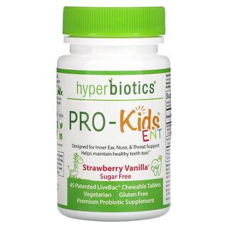 Hyperbiotics, PRO-Kids, Suplemento que promueve la salud de los oídos, la nariz y la garganta, Sin azúcar, Fresa y vainilla, 45comprimidos masticables patentados LiveBac