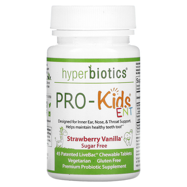 PRO-Kids ENT, Sugar Free, Strawberry Vanilla, 45 LiveBac Chewable Tablets