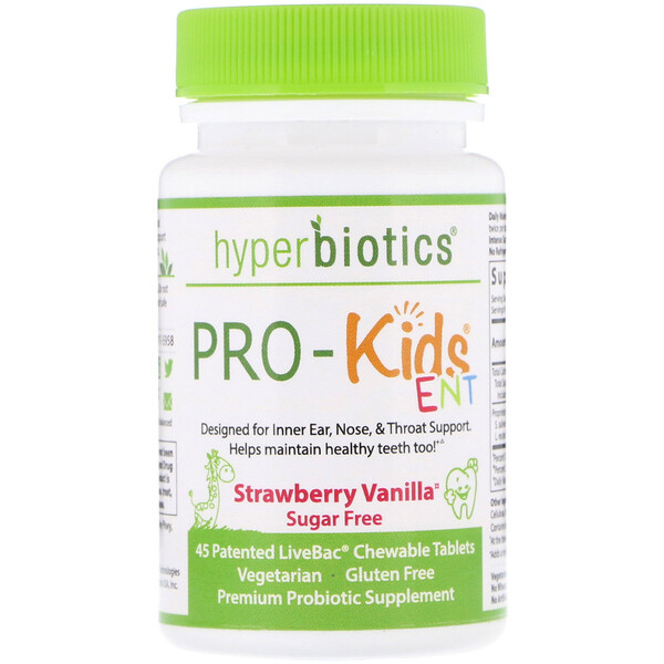 Hyperbiotics, PRO-Kids ENT, Sugar Free, Strawberry Vanilla, 45 Patented LiveBac Chewable Tablets