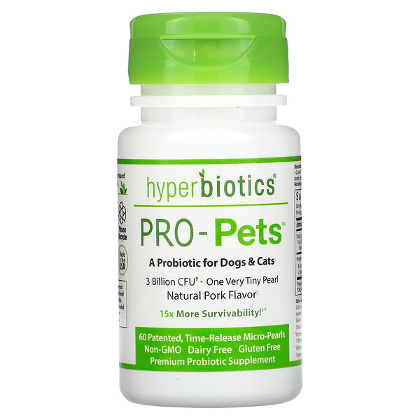 Pro-Pets,貓狗用益生菌,天然豬肉味,30 億 CFU,60 顆專利緩釋微珠