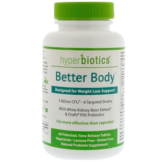 Hyperbiotics, Better Body, Probiotics for Weight Loss Support, 5 Billion CFU, 60 Time-Release Tablets