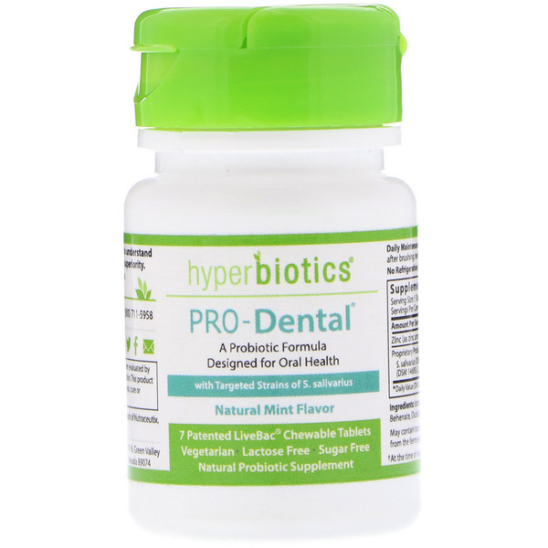 Hyperbiotics, PRO-Dental, Natural Mint Flavor, 7 Chewable Tablets