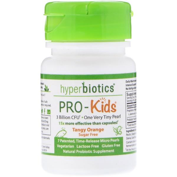 Hyperbiotics, PRO-キッズ、ピリっとオレンジ、無糖、7マイクロパール