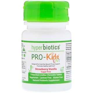 Hyperbiotics, PRO-Kids ENT, Strawberry Vanilla, Sugar Free, 7 Chewable Tablets