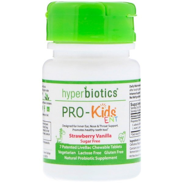 Hyperbiotics, PRO-Kids ENT, Sugar Free, Strawberry Vanilla, 7 Patented LiveBac Chewable Tablets (Discontinued Item)