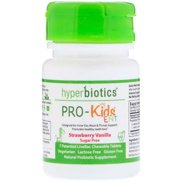 Hyperbiotics, PRO-Kids ENT, Sugar Free, Strawberry Vanilla, 7 Patented LiveBac Chewable Tablets