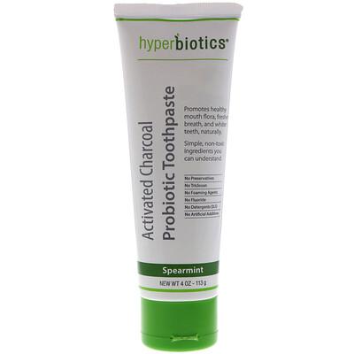 Купить Hyperbiotics Зубная паста с активированным углем и пробиотиком, со вкусом мяты, 4 унц. (113 г)