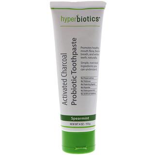 Hyperbiotics, Aktivkohle-Probiotische Zahnpasta, Grüne Minze, 4 oz (113 g)