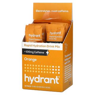 Hydrant, Rapid Hydration Drink Mix +100 mg Caffeine, Orange, 12 Pack, 0.28 oz (7.9 g) Each