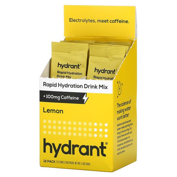 Rapid Hydration Drink Mix +100 mg Caffeine, Lemon, 12 Pack, 0.28 oz (7.8 g) Each