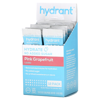 Hydrant, Electrolyte Drink Mix, Pink Grapefruit, 12 Pack, 0.13 oz (3.6 g) Each