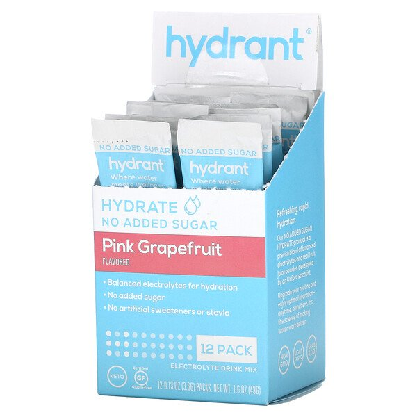 Electrolyte Drink Mix, Pink Grapefruit, 12 Pack, 0.13 oz (3.6 g) Each