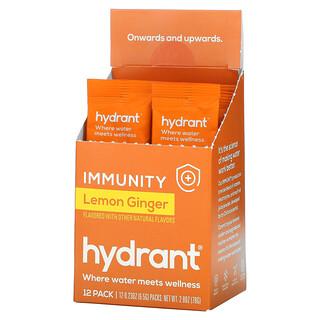 Hydrant, Immunity Drink Mix, Lemon Ginger, 12 Pack, 0.23 oz (6.5 g) Each