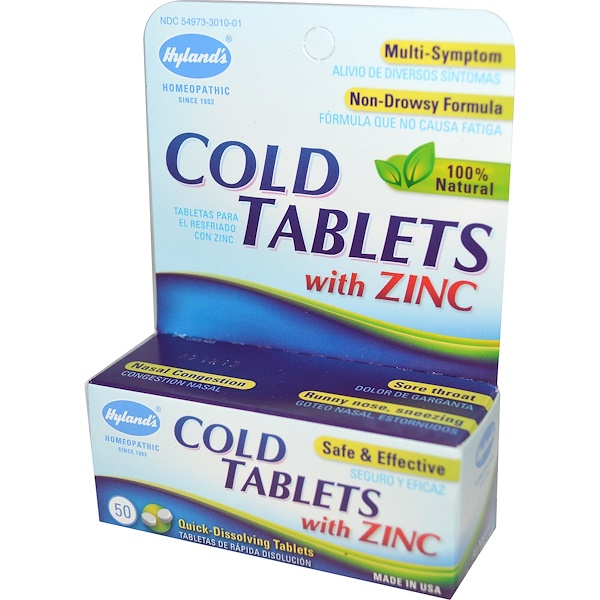Hyland's, Cold Tablets with Zinc, 50 Tablets