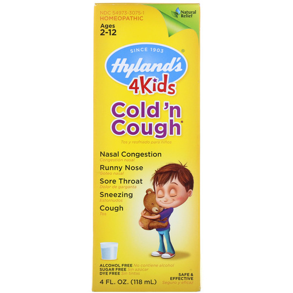 Hyland's, 子供用 風邪薬&咳止め(4 Kids Cold 'n Cough Nighttime)、日中用、2~12歳、4 fl oz (118 ml)