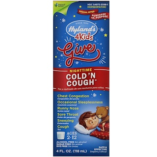 Hyland's, 4 Kids Cold 'n Cough Nighttime, Age 2-12, 4 fl oz (118 ml)