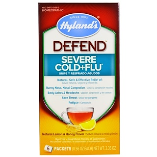 Hyland's, Defend, Severe Cold+Flu, Natural Lemon & Honey Flavor, 6 Packets, 0.56 oz Each