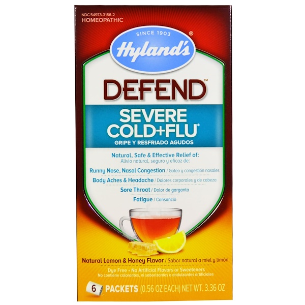 Hyland's, Defend, Severe Cold+Flu, Natural Lemon & Honey Flavor, 6 Packets, 0.56 oz Each (Discontinued Item)