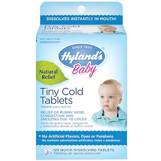 Hyland's, الطفل، أقراص صغيرة لنزلات البرد ، 6 أشهر +، 125 قرص سريع الانحلال