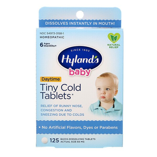 Hyland's, Baby, Tiny Cold Tablets, Daytime, Ages 6 Months +, 125 Quick-Dissolving Tablets