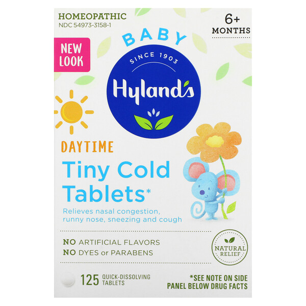 Baby, Daytime Tiny Cold Tablets, Ages 6+ Months, 125 Quick-Dissolving Tablets