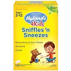 Hyland's, 4 Kids, Sniffles 'n Sneezes, 2-12세, 빠르게 녹는 정제 125알