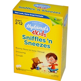 Hyland's, 4 Kids, Sniffles 'n Sneezes, 125 Quick-Dissolving Tablets