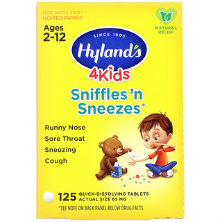 Hyland's, 4 Kids, Sniffles 'n Sneezes, Ages 2-12, 125 Quick-Dissolving Tablets
