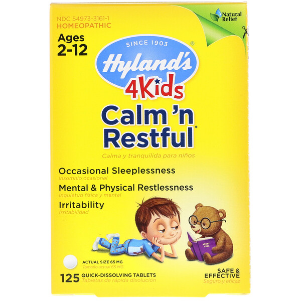 4 Kids, Calm' n Restful, Ages 2-12, 125 Quick-Dissolving Tablets