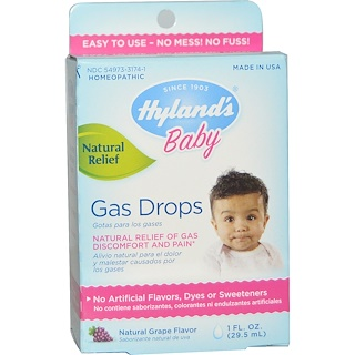 Hyland's, Baby, Gas Drops, Natural Grape Flavor, 1 fl oz (29.5 ml)