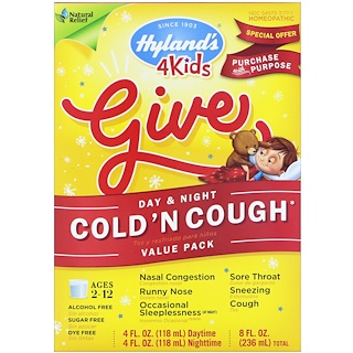 Hyland's, Kids Cold 'n Cough Day & Night 、バリューパック(4個入り)、1個あたり4 fl oz (118 ml)