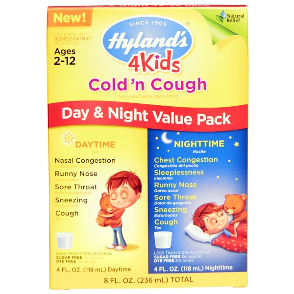 Hyland's, 4 Kids Cold 'n Cough Day & Night Value Pack, 4 fl oz (118 ml) Each