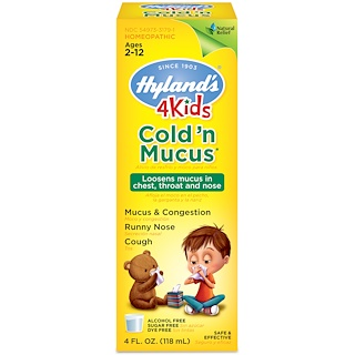Hyland's, 4 Kids Cold 'n Mucus、2〜12歳、4 fl oz (118 ml)