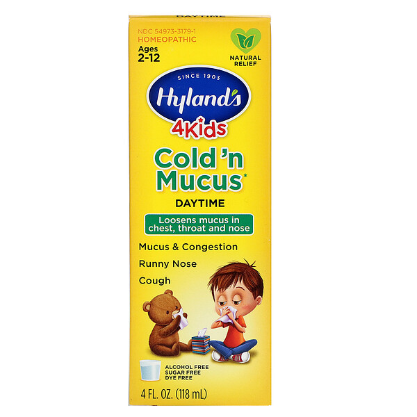 4 Kids, Cold 'n Mucus, Daytime, Ages 2-12, 4 fl oz (118 ml)