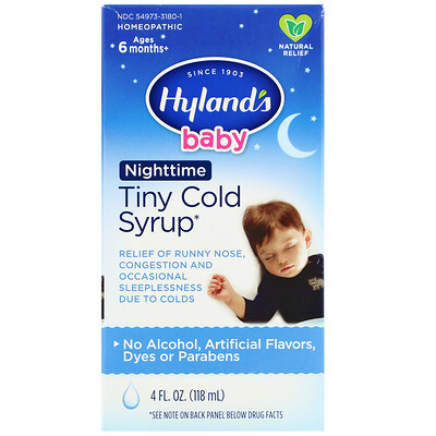 Baby, Tiny Cold Syrup, Nighttime, Ages 6 Months+, 4 fl oz (118 ml)