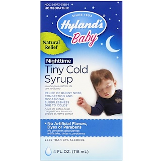 Hyland's, Baby, Nighttime Tiny Cold Syrup, 4 fl oz (118 ml)