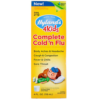 Hyland's, 4Kids, Complete Cold 'n Flu, Ages 2-12, 4 fl oz (118 ml)